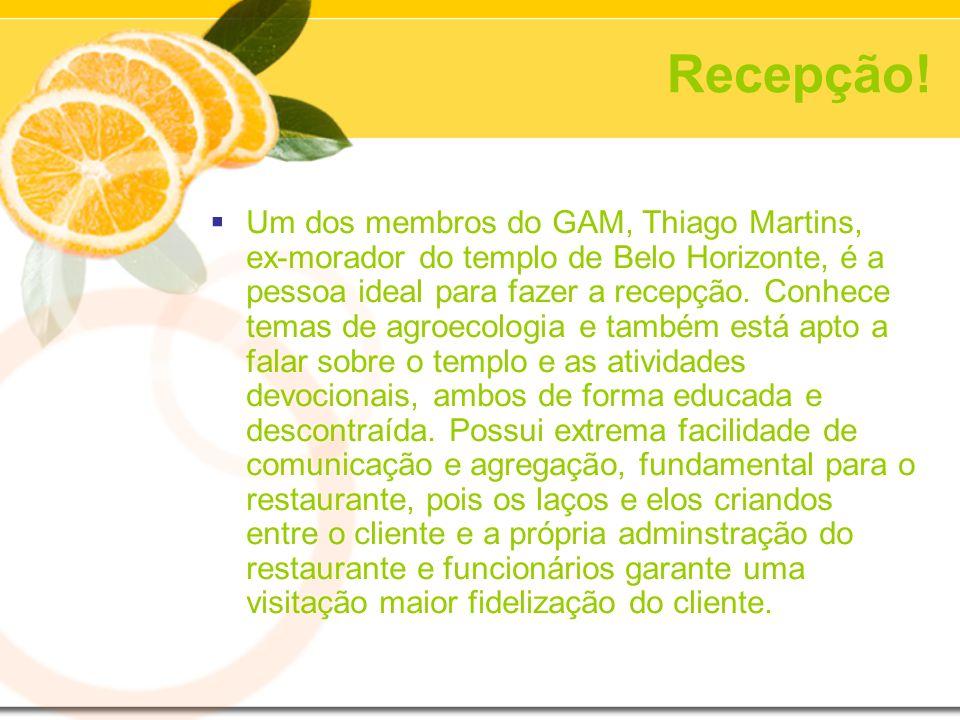 Recepção! Um dos membros do GAM, Thiago Martins, ex-morador do templo de Belo Horizonte, é a pessoa ideal para fazer a recepção. Conhece temas de agro