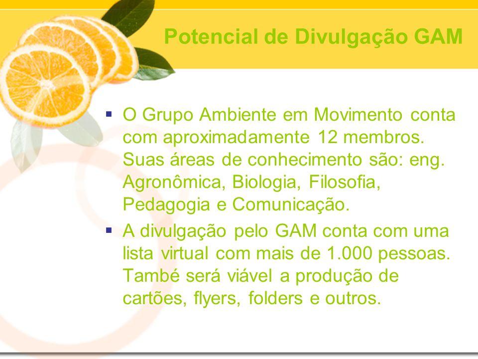 Potencial de Divulgação GAM O Grupo Ambiente em Movimento conta com aproximadamente 12 membros. Suas áreas de conhecimento são: eng. Agronômica, Biolo