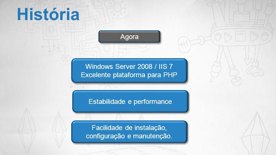 História Agora Windows Server 2008 / IIS 7 Excelente plataforma para PHP Windows Server 2008 / IIS 7 Excelente plataforma para PHP Estabilidade e perf
