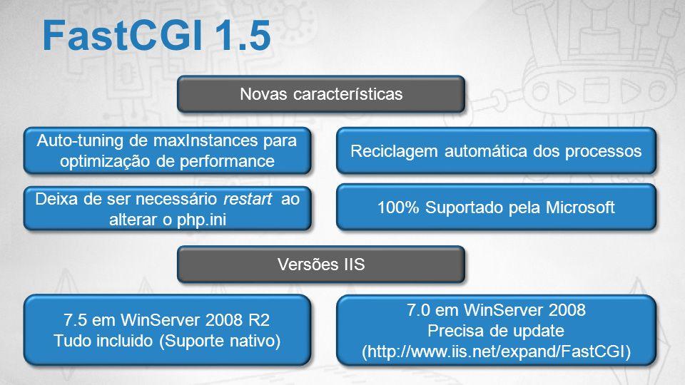 FastCGI 1.5 Novas características Auto-tuning de maxInstances para optimização de performance Reciclagem automática dos processos Deixa de ser necessá