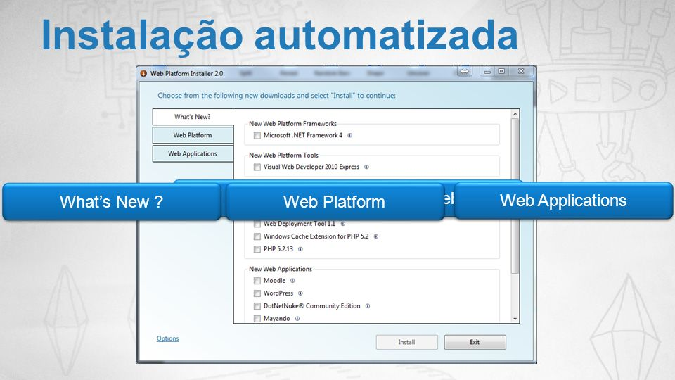 Instalação automatizada http://www.microsoft.com/web Whats New ? Web Platform Web Applications
