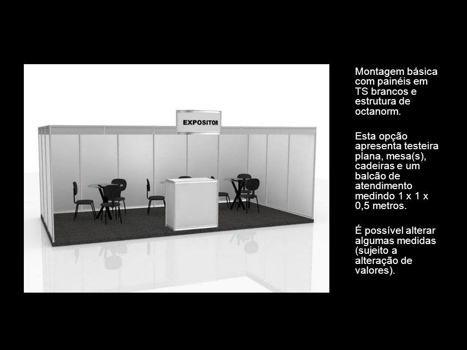 Montagem básica com painéis em TS brancos e estrutura de octanorm. Esta opção apresenta testeira plana, mesa(s), cadeiras e um balcão de atendimento m