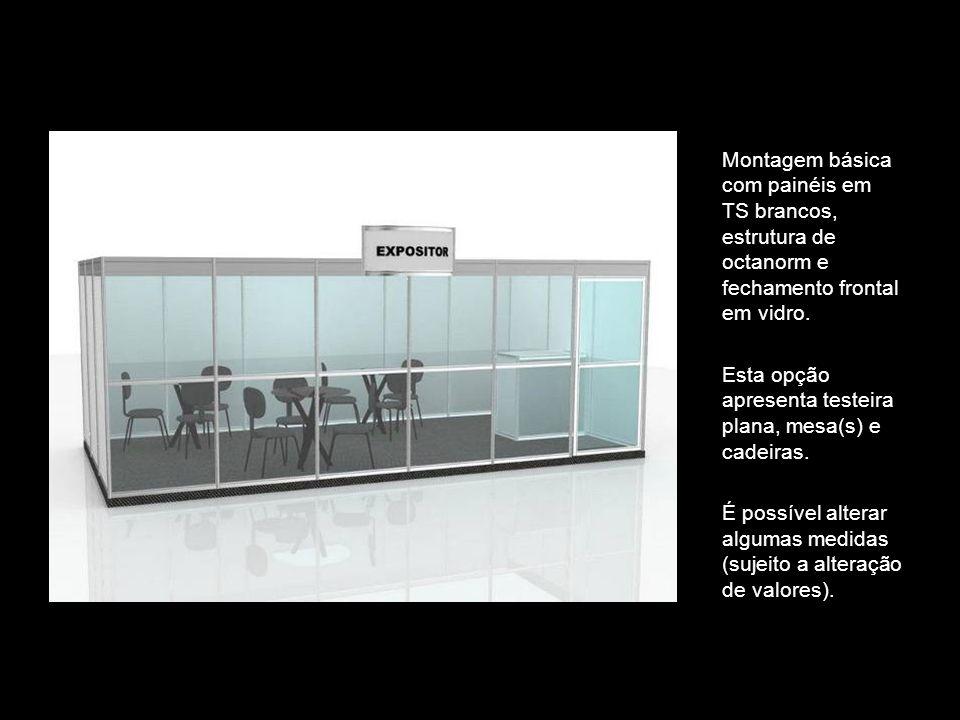 Montagem básica com painéis em TS brancos, estrutura de octanorm e fechamento frontal em vidro. Esta opção apresenta testeira plana, mesa(s) e cadeira