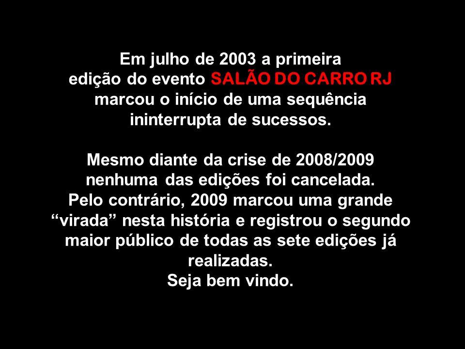 Em julho de 2003 a primeira edição do evento SALÃO DO CARRO RJ marcou o início de uma sequência ininterrupta de sucessos. Mesmo diante da crise de 200