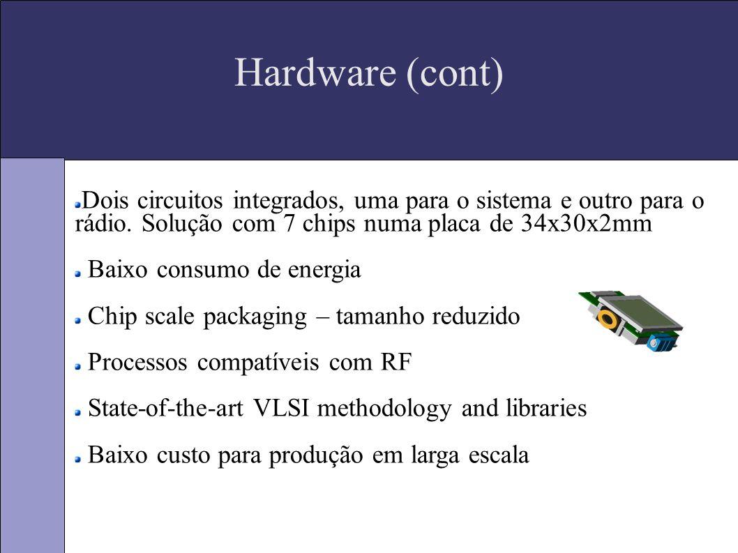 Hardware (cont) Dois circuitos integrados, uma para o sistema e outro para o rádio.