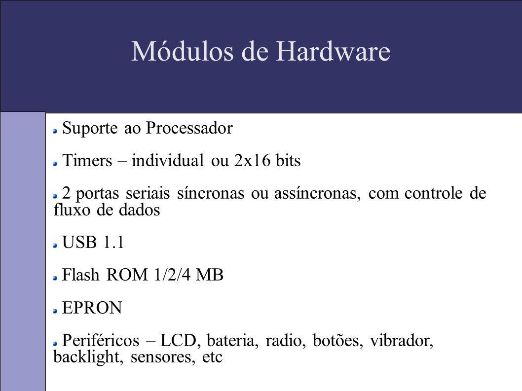 Módulos de Hardware Suporte ao Processador Timers – individual ou 2x16 bits 2 portas seriais síncronas ou assíncronas, com controle de fluxo de dados USB 1.1 Flash ROM 1/2/4 MB EPRON Periféricos – LCD, bateria, radio, botões, vibrador, backlight, sensores, etc