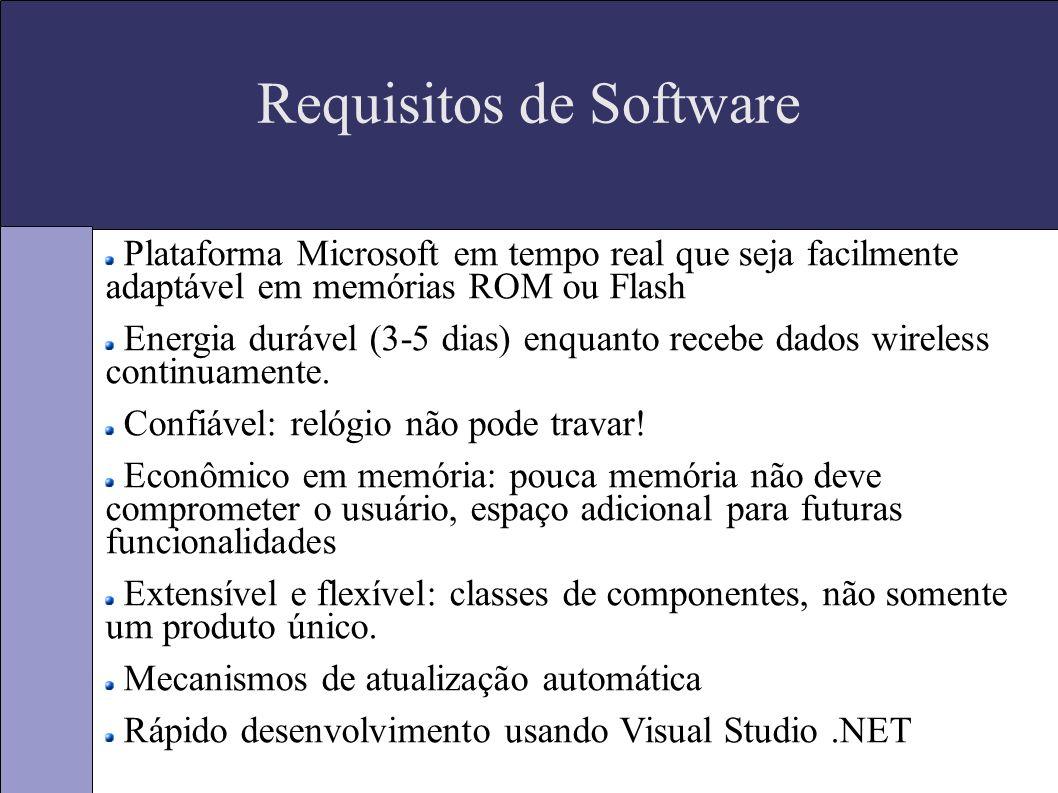 Requisitos de Software Plataforma Microsoft em tempo real que seja facilmente adaptável em memórias ROM ou Flash Energia durável (3-5 dias) enquanto recebe dados wireless continuamente.