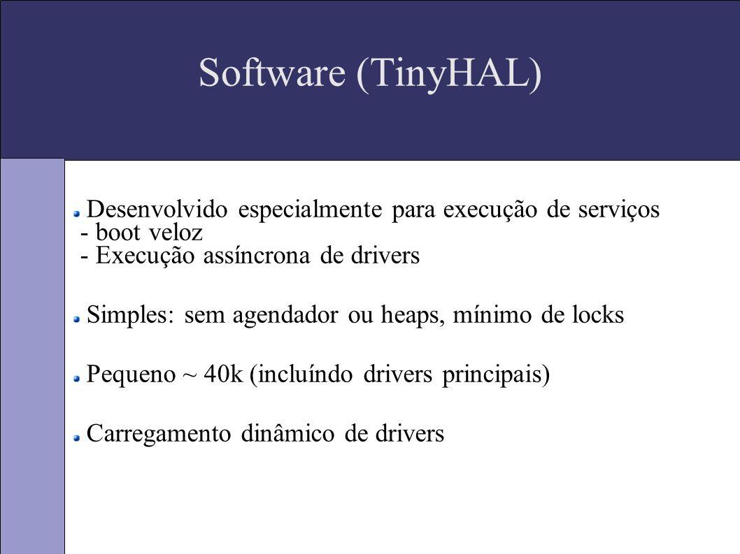 Software (TinyHAL) Desenvolvido especialmente para execução de serviços - boot veloz - Execução assíncrona de drivers Simples: sem agendador ou heaps, mínimo de locks Pequeno ~ 40k (incluíndo drivers principais) Carregamento dinâmico de drivers
