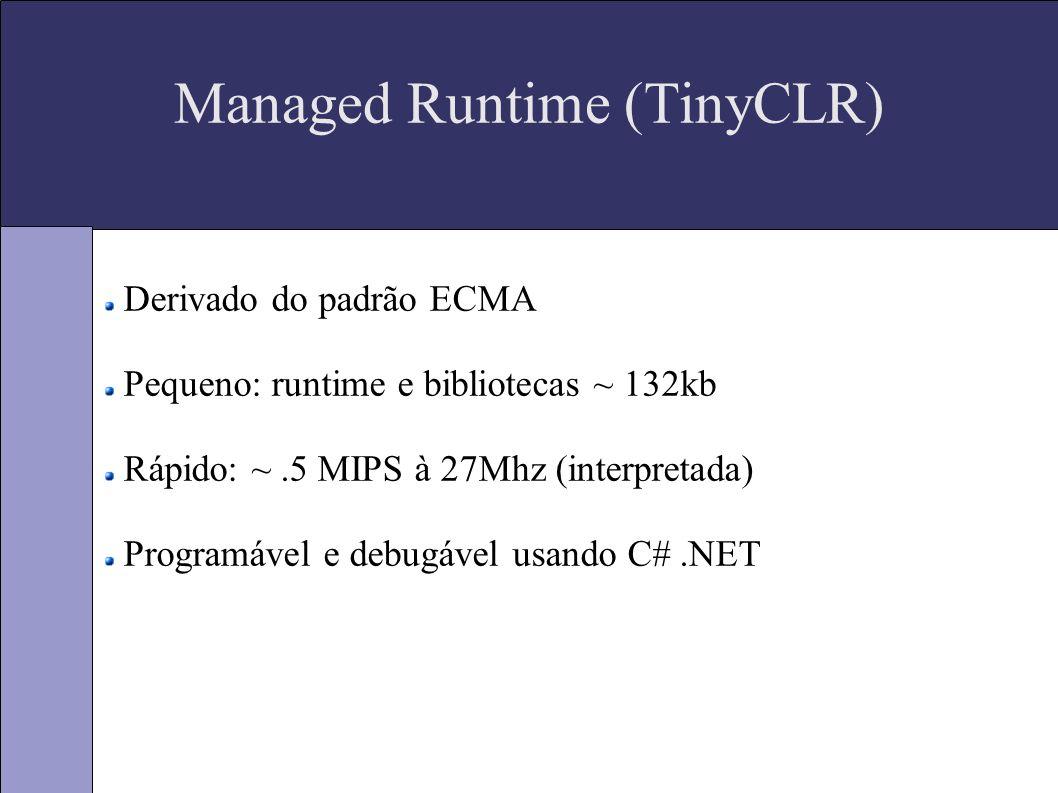 Managed Runtime (TinyCLR) Derivado do padrão ECMA Pequeno: runtime e bibliotecas ~ 132kb Rápido: ~.5 MIPS à 27Mhz (interpretada) Programável e debugável usando C#.NET