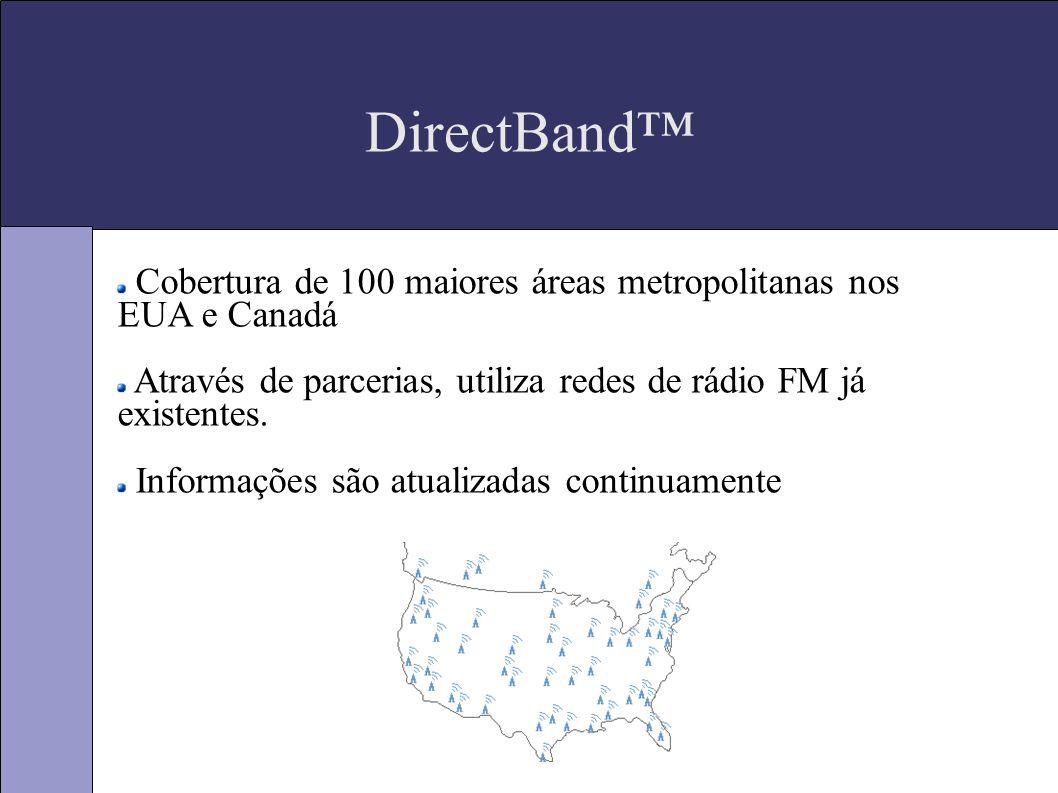 DirectBand Cobertura de 100 maiores áreas metropolitanas nos EUA e Canadá Através de parcerias, utiliza redes de rádio FM já existentes.