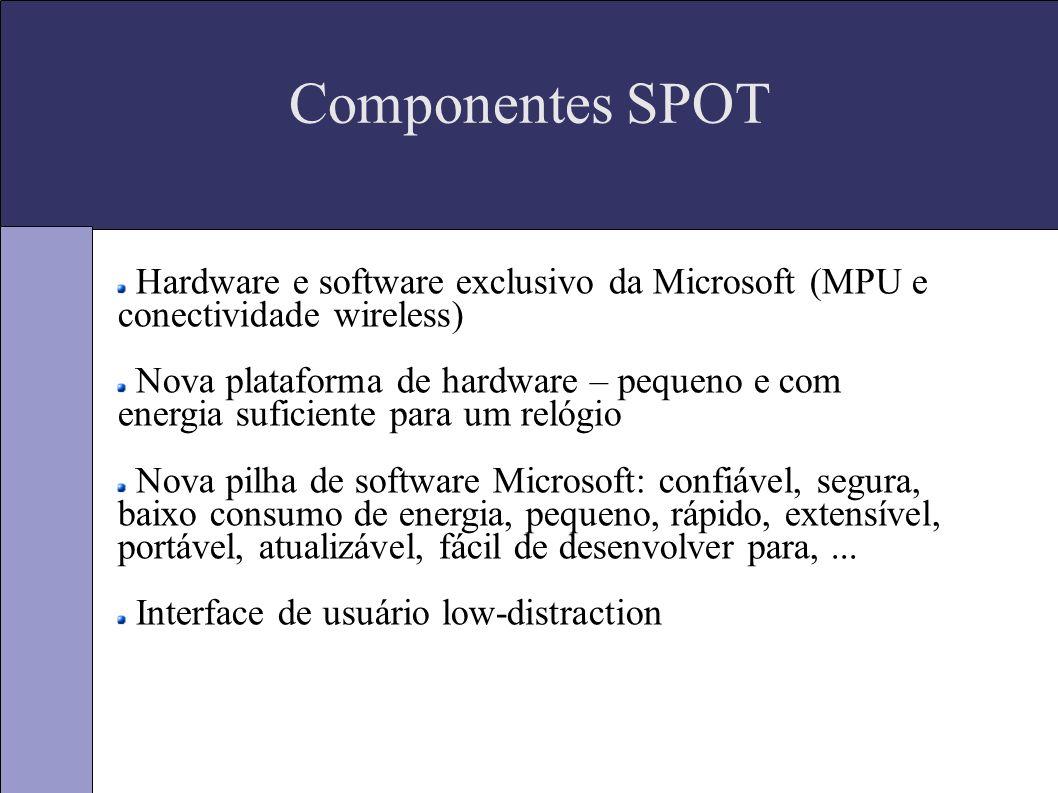 Componentes SPOT (cont) Sistema Operacional: versão reduzida do Windows CE Hardware – solução com 7 chips numa placa de 34x30x2mm Web site user-friendly Conexão sem fio, protocolos e infraestrutura de serviços persistente (7x24)