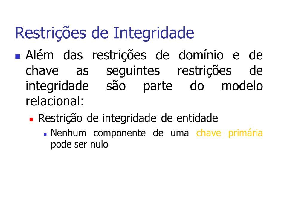 Restrições de Integridade Além das restrições de domínio e de chave as seguintes restrições de integridade são parte do modelo relacional: Restrição de integridade de entidade Nenhum componente de uma chave primária pode ser nulo