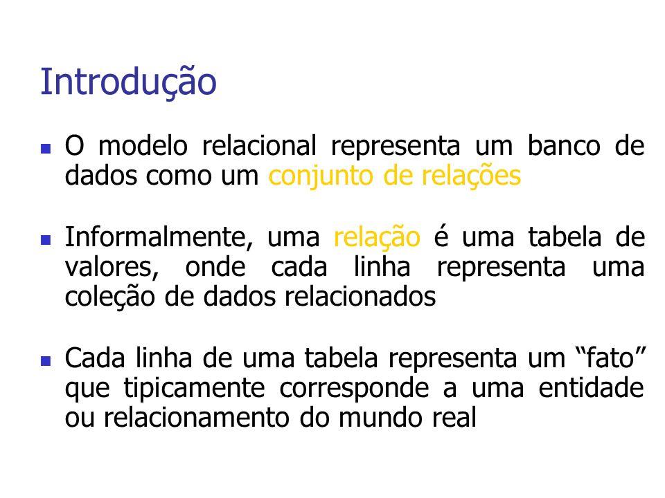 Definição de Dados em SQL Comandos DROP SCHEMA e DROP TABLE DROP SCHEMA COMPANY CASCADE (RESTRICT); RESTRICT: APENAS SE NAO TEM ELEMENTOS DROP TABLE DEPENDENT CASCADE (RESTRICT); RESTRICT: SE A TABELA NAO E REFERENCIADA EM QUALQUER RESTRICAO Comando ALTER TABLE ALTER TABLE COMPANY.EMPLOYEE ADD JOB VARCHAR(12); Inicialmente Null para todas as tuplas ALTER TABLE COMPANY.EMPLOYEE DROP ADDRESS CASCADE (RESTRICT); RESTRICT: SE NENHUMA VISAO OU RESTRICAO REFERENCIA A COLUNA