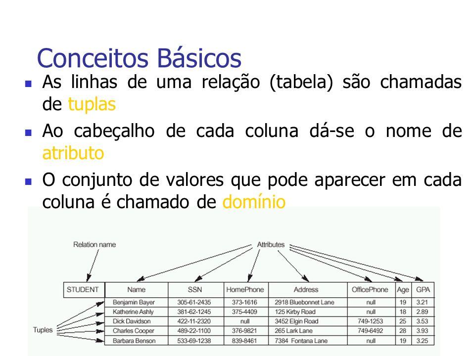 Conceitos Básicos As linhas de uma relação (tabela) são chamadas de tuplas Ao cabeçalho de cada coluna dá-se o nome de atributo O conjunto de valores que pode aparecer em cada coluna é chamado de domínio