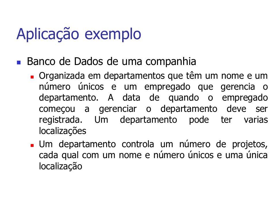 Aplicação exemplo Banco de Dados de uma companhia Organizada em departamentos que têm um nome e um número únicos e um empregado que gerencia o departamento.
