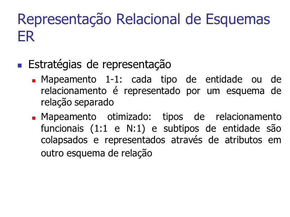 Representação Relacional de Esquemas ER Estratégias de representação Mapeamento 1-1: cada tipo de entidade ou de relacionamento é representado por um esquema de relação separado Mapeamento otimizado: tipos de relacionamento funcionais (1:1 e N:1) e subtipos de entidade são colapsados e representados através de atributos em outro esquema de relação