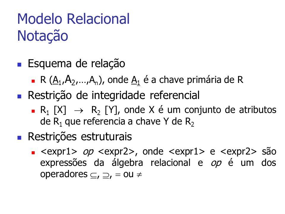 Modelo Relacional Notação Esquema de relação R (A 1, A 2,…,A n ), onde A 1 é a chave primária de R Restrição de integridade referencial R 1 [X] R 2 [Y], onde X é um conjunto de atributos de R 1 que referencia a chave Y de R 2 Restrições estruturais op, onde e são expressões da álgebra relacional e op é um dos operadores,, ou