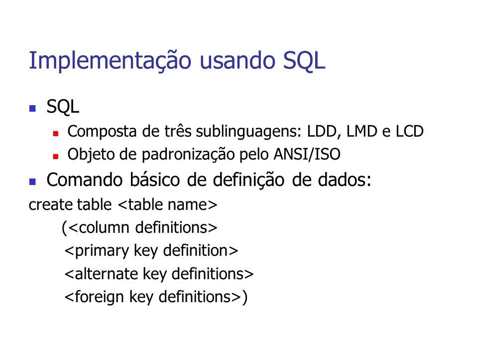 Implementação usando SQL SQL Composta de três sublinguagens: LDD, LMD e LCD Objeto de padronização pelo ANSI/ISO Comando básico de definição de dados: create table ( )