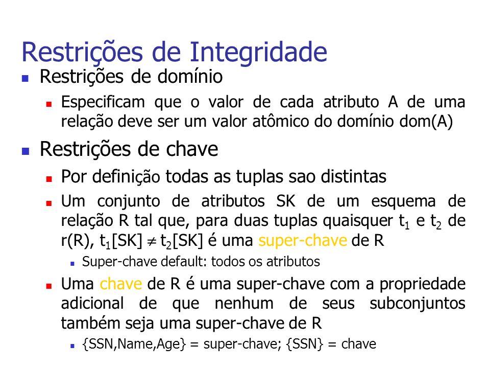 Definição de Dados em SQL Exemplo de um comando CREATE TABLE CREATE TABLE EMPLOYEE (FNAMEVARCHAR(15)NOT NULL, MINITCHAR, LNAMEVARCHAR(15)NOT NULL, SSNCHAR(9)NOT NULL, … SUPERSSNCHAR(9), DNOINTNOT NULL, PRIMARY KEY (SSN), FOREIGN KEY (SUPERSSN) REFERENCES EMPLOYEE (SSN) ON DELETE SET NULL, FOREIGN KEY (DNO) REFERENCES DEPARTMENT (DNUMBER));
