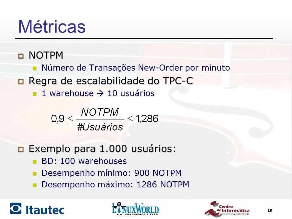 19 Métricas NOTPM NOTPM Número de Transações New-Order por minuto Número de Transações New-Order por minuto Regra de escalabilidade do TPC-C Regra de