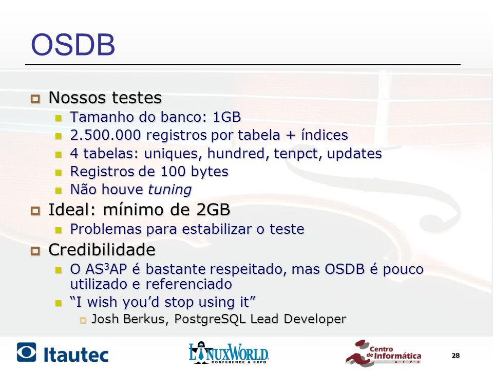 28 OSDB Nossos testes Nossos testes Tamanho do banco: 1GB Tamanho do banco: 1GB 2.500.000 registros por tabela + índices 2.500.000 registros por tabel