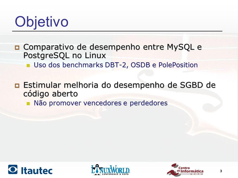3 Objetivo Comparativo de desempenho entre MySQL e PostgreSQL no Linux Comparativo de desempenho entre MySQL e PostgreSQL no Linux Uso dos benchmarks
