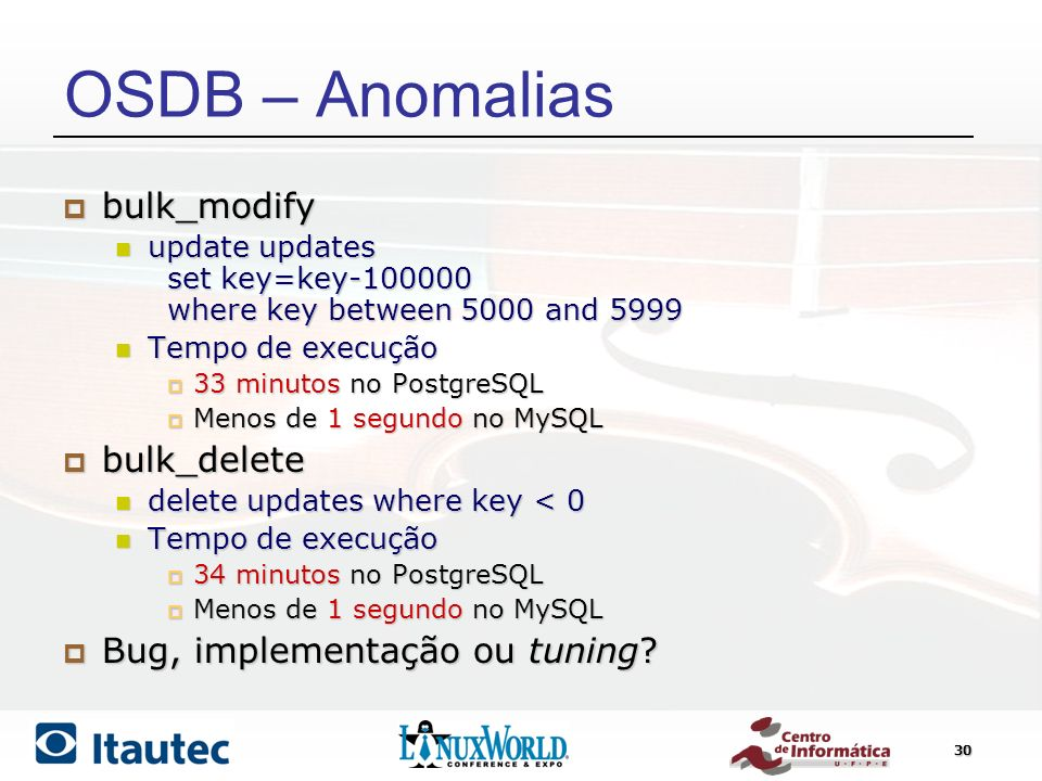 30 OSDB – Anomalias bulk_modify bulk_modify update updates set key=key-100000 where key between 5000 and 5999 update updates set key=key-100000 where key between 5000 and 5999 Tempo de execução Tempo de execução 33 minutos no PostgreSQL 33 minutos no PostgreSQL Menos de 1 segundo no MySQL Menos de 1 segundo no MySQL bulk_delete bulk_delete delete updates where key < 0 delete updates where key < 0 Tempo de execução Tempo de execução 34 minutos no PostgreSQL 34 minutos no PostgreSQL Menos de 1 segundo no MySQL Menos de 1 segundo no MySQL Bug, implementação ou tuning.