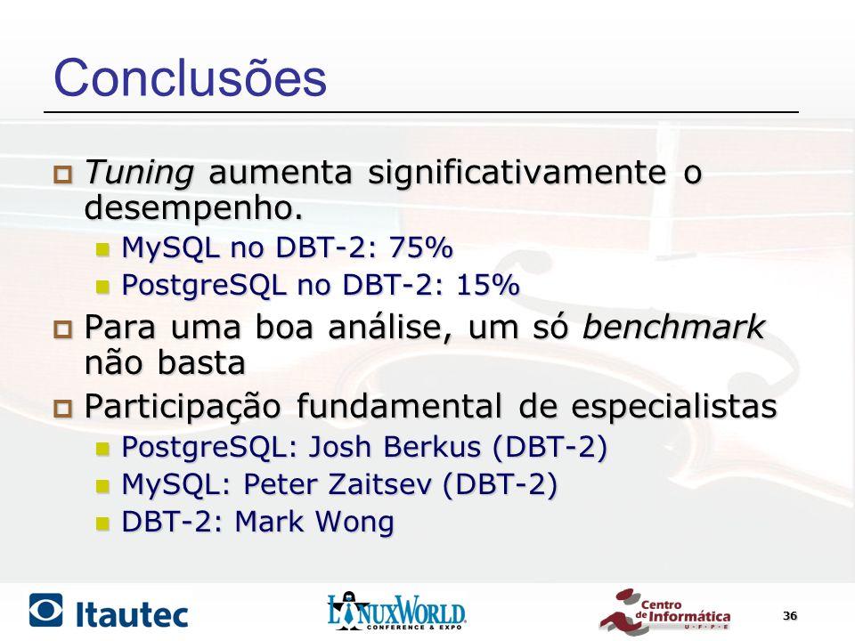 36 Conclusões Tuning aumenta significativamente o desempenho. Tuning aumenta significativamente o desempenho. MySQL no DBT-2: 75% MySQL no DBT-2: 75%