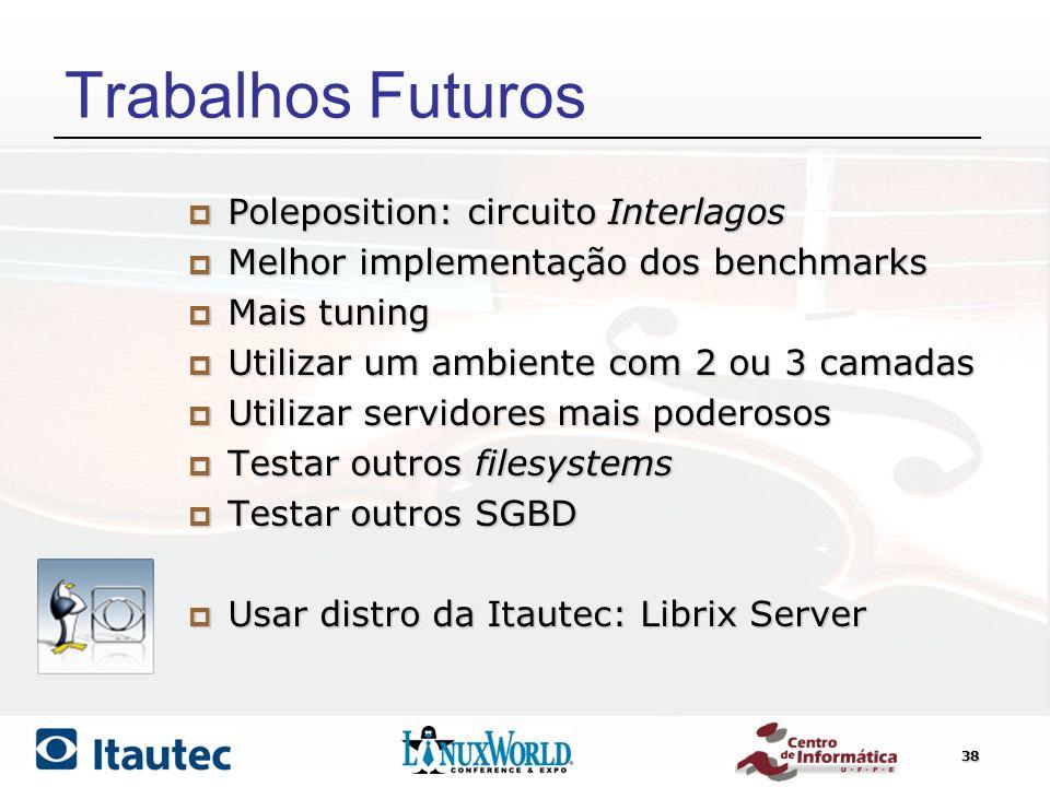 38 Trabalhos Futuros Poleposition: circuito Interlagos Poleposition: circuito Interlagos Melhor implementação dos benchmarks Melhor implementação dos
