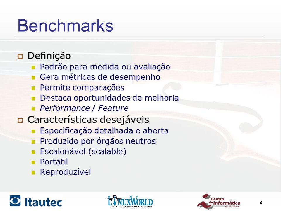 6 Benchmarks Definição Definição Padrão para medida ou avaliação Padrão para medida ou avaliação Gera métricas de desempenho Gera métricas de desempen