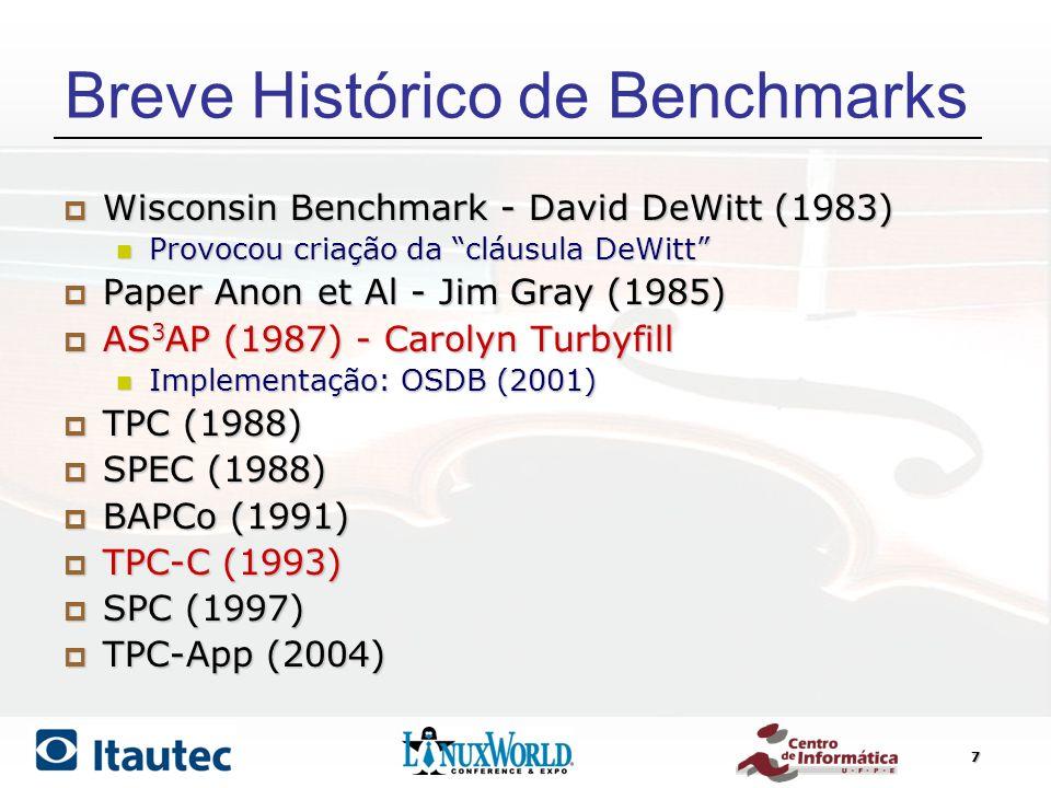 7 Breve Histórico de Benchmarks Wisconsin Benchmark - David DeWitt (1983) Wisconsin Benchmark - David DeWitt (1983) Provocou criação da cláusula DeWit