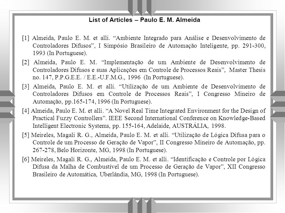List of Articles – Paulo E.M. Almeida [1] Almeida, Paulo E.