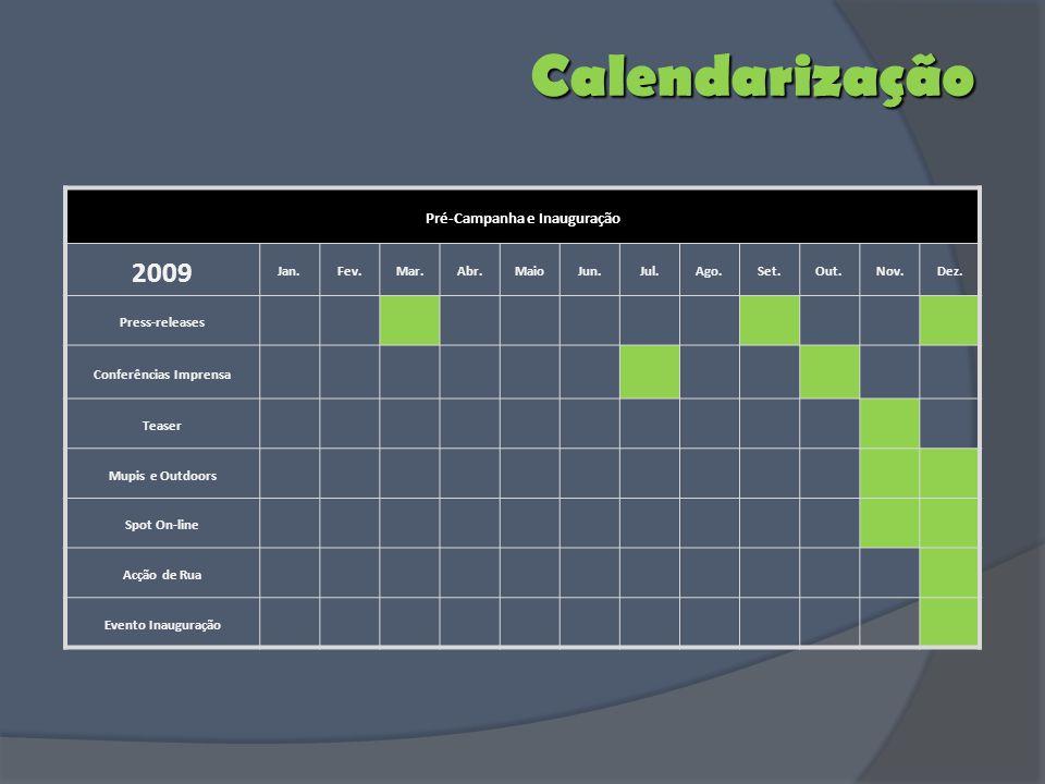Calendarização Pré-Campanha e Inauguração 2009 Jan.Fev.Mar.Abr.MaioJun.Jul.Ago.Set.Out.Nov.Dez. Press-releases Conferências Imprensa Teaser Mupis e Ou