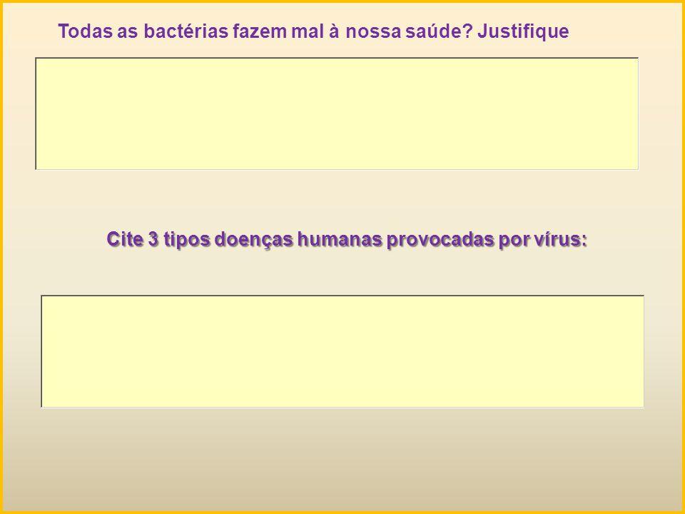 Todas as bactérias fazem mal à nossa saúde? Justifique Cite 3 tipos doenças humanas provocadas por vírus: