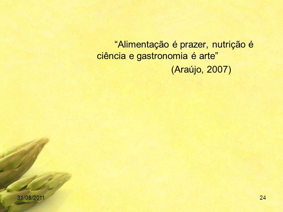 Alimentação é prazer, nutrição é ciência e gastronomia é arte (Araújo, 2007) 31/08/201124