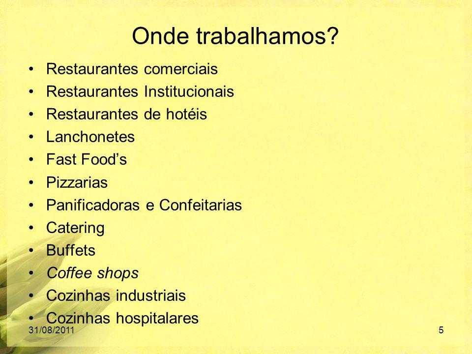 Onde trabalhamos? Restaurantes comerciais Restaurantes Institucionais Restaurantes de hotéis Lanchonetes Fast Foods Pizzarias Panificadoras e Confeita