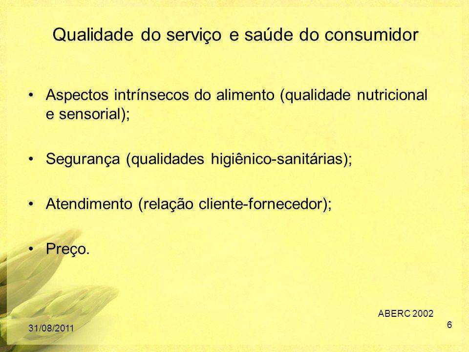 Aspectos intrínsecos do alimento (qualidade nutricional e sensorial); Segurança (qualidades higiênico-sanitárias); Atendimento (relação cliente-fornec