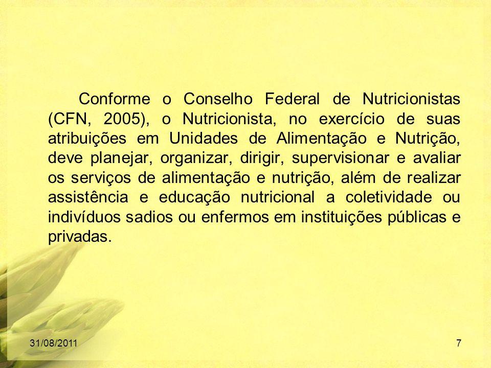 Conforme o Conselho Federal de Nutricionistas (CFN, 2005), o Nutricionista, no exercício de suas atribuições em Unidades de Alimentação e Nutrição, de
