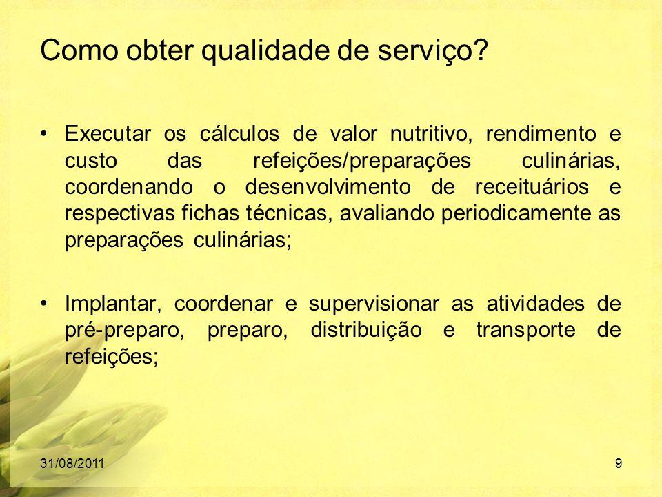 Executar os cálculos de valor nutritivo, rendimento e custo das refeições/preparações culinárias, coordenando o desenvolvimento de receituários e resp