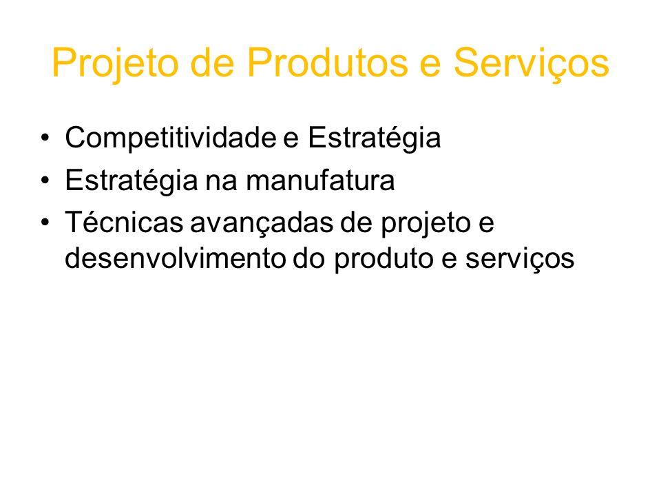 Projeto de Produtos e Serviços Competitividade e Estratégia Estratégia na manufatura Técnicas avançadas de projeto e desenvolvimento do produto e serviços