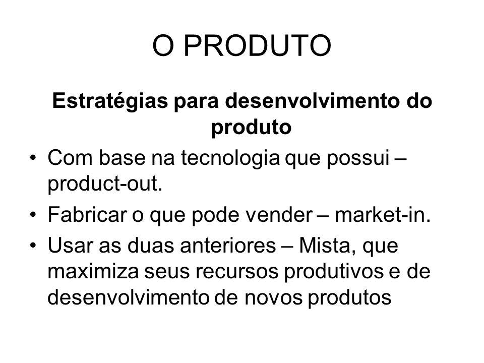 O PRODUTO Estratégias para desenvolvimento do produto Com base na tecnologia que possui – product-out.