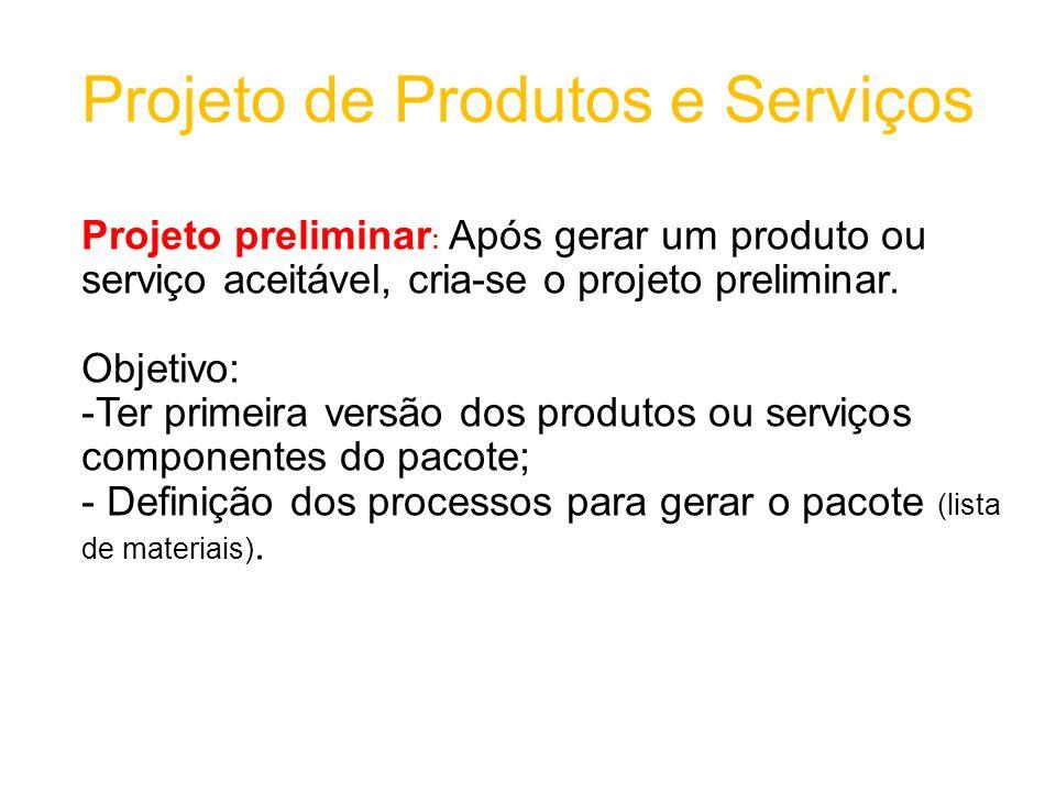 Projeto de Produtos e Serviços Projeto preliminar : Após gerar um produto ou serviço aceitável, cria-se o projeto preliminar.