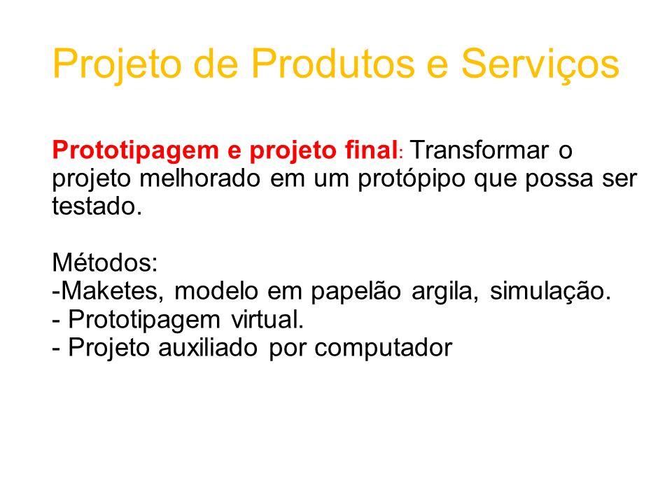 Projeto de Produtos e Serviços Prototipagem e projeto final : Transformar o projeto melhorado em um protópipo que possa ser testado.