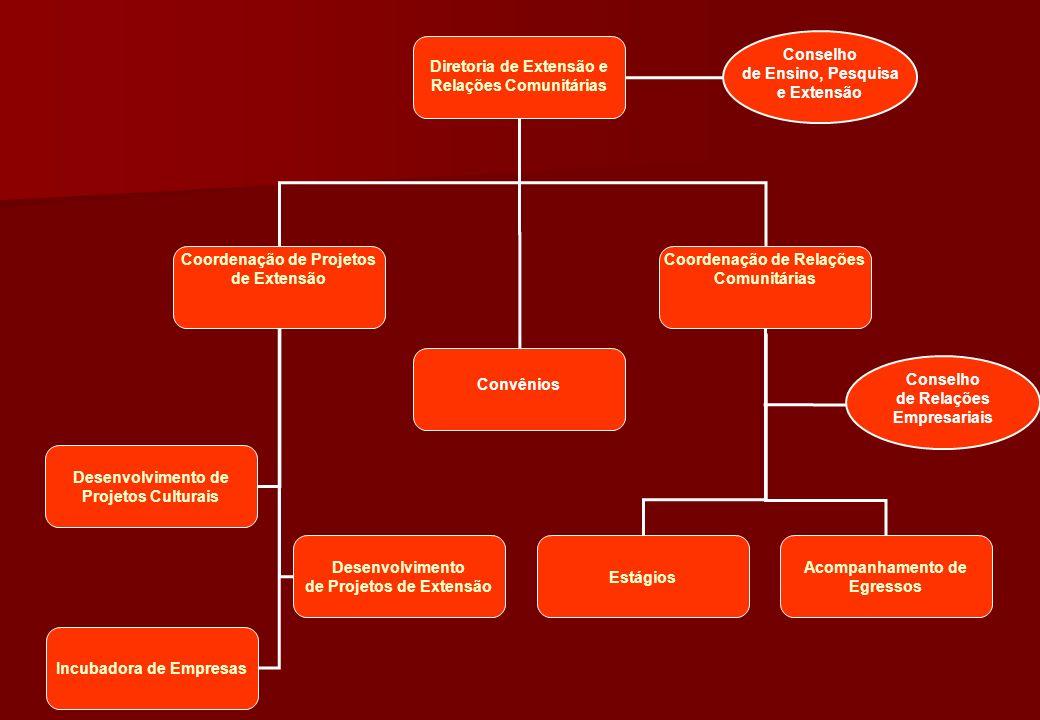 Diretoria de Extensão e Relações Comunitárias Coordenação de Projetos de Extensão Coordenação de Relações Comunitárias Estágios Acompanhamento de Egre