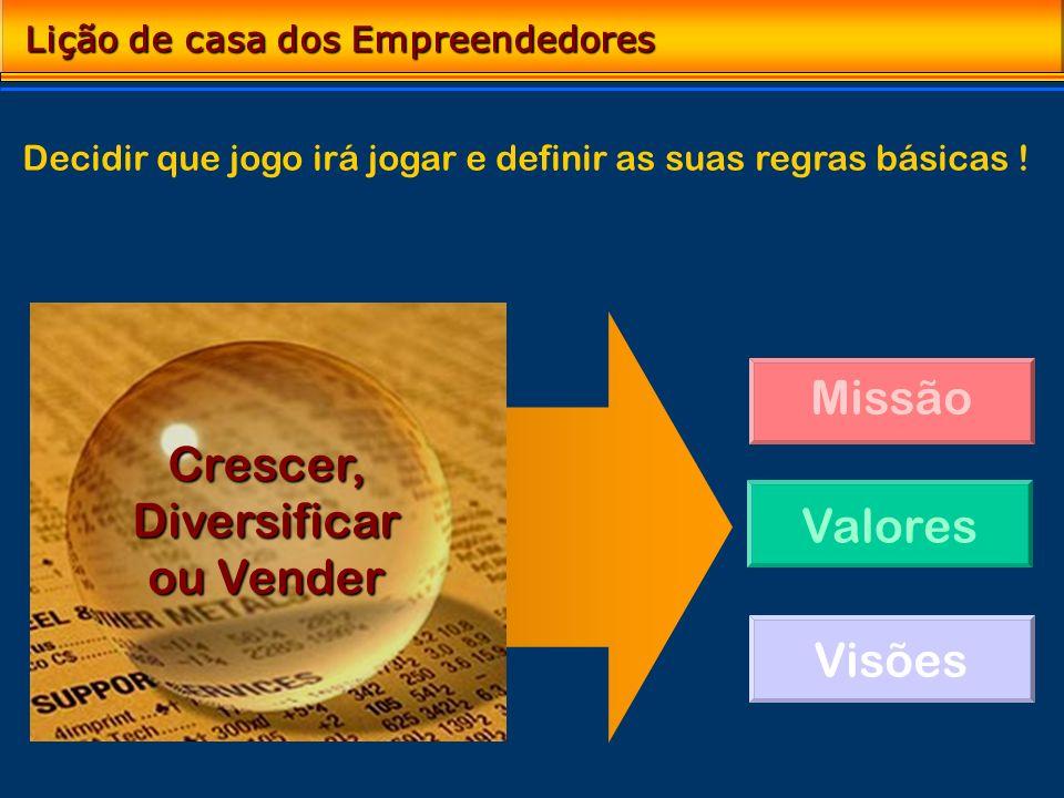 Missão Valores Visões Lição de casa dos Empreendedores Análise das oportunidades Definição do seu papel no mercado Crescer,Diversificar ou Vender Deci