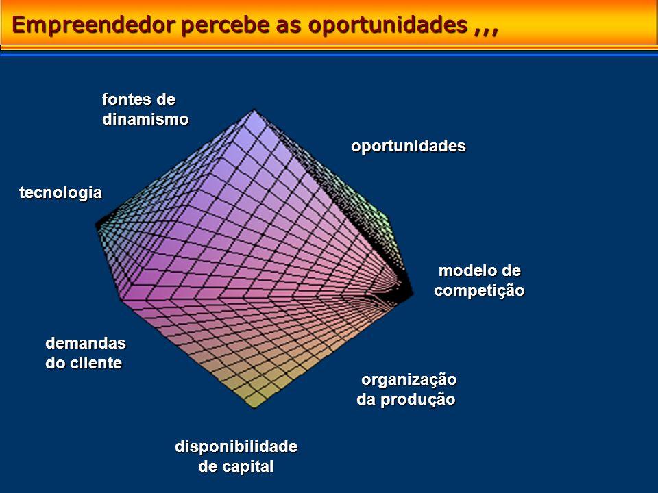 Empreendedor percebe as oportunidades,,, fontes de dinamismo oportunidades organização da produção organização da produção tecnologia tecnologia dispo