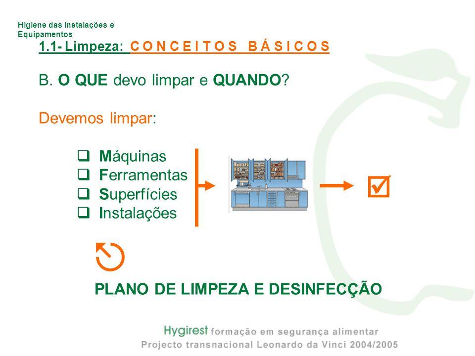 Higiene das Instalações e Equipamentos 1.1- Limpeza: C O N C E I T O S B Á S I C O S B. O QUE devo limpar e QUANDO? Devemos limpar: Máquinas Ferrament