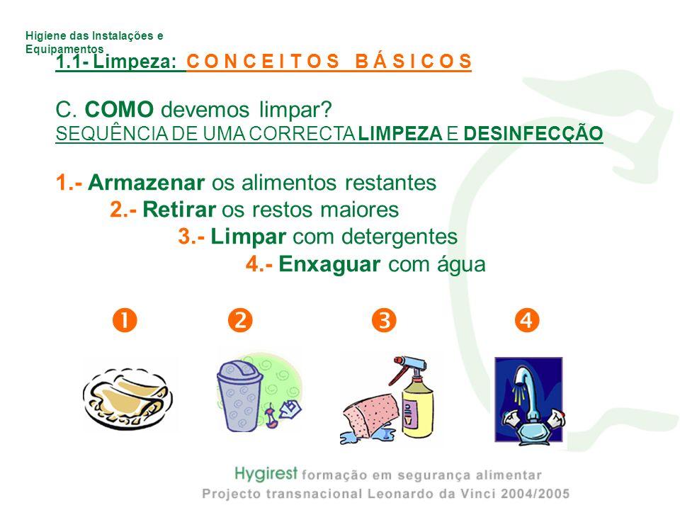 Higiene das Instalações e Equipamentos 1.1- Limpeza: C O N C E I T O S B Á S I C O S C. COMO devemos limpar? SEQUÊNCIA DE UMA CORRECTA LIMPEZA E DESIN