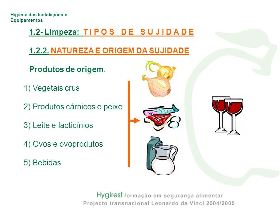 Higiene das Instalações e Equipamentos 1.2- Limpeza: T I P O S D E S U J I D A D E 1.2.2. NATUREZA E ORIGEM DA SUJIDADE Produtos de origem: 1) Vegetai