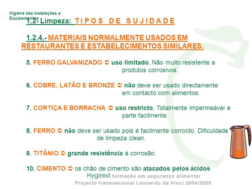 Higiene das Instalações e Equipamentos 1.2- Limpeza: T I P O S D E S U J I D A D E 1.2.4.- MATERIAIS NORMALMENTE USADOS EM RESTAURANTES E ESTABELECIME
